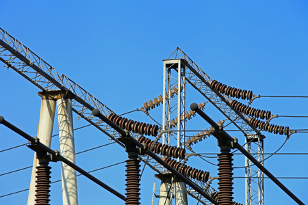 high frequency: Electric power equipment, high pressure ceramic and metal stents, power grid and power lines Stock Photo