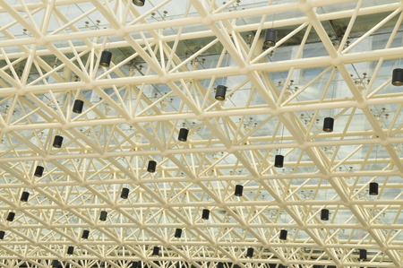 droplight: Glass roof structure and the droplight on the ceiling