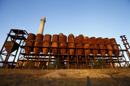 abandoned factory: Abandoned industrial factory equipment