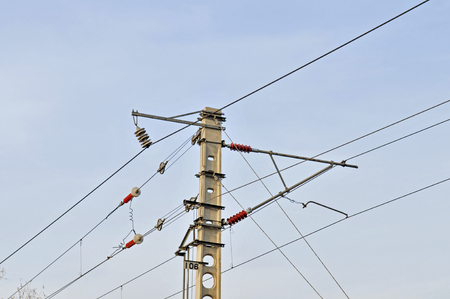 the close range: Rail overhead line, link, shot from close range