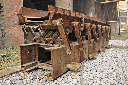 damage control: Abandoned manufacturing and transportation equipment in the factory Stock Photo