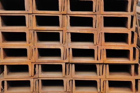 joists: Hot dip galvanized steel channel Stock Photo