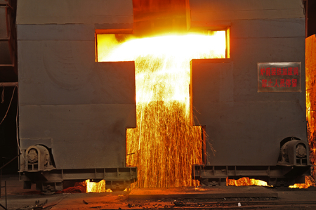 slag: Metal smelting casting Stock Photo