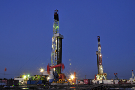 beautification: Oil drilling rig, tanghai county of hebei province oil fields in China
