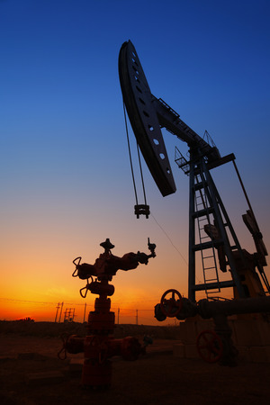 nodding: The silhouette of the oil pump Stock Photo