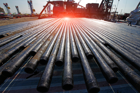 oilwell: Oil drill pipe Stock Photo