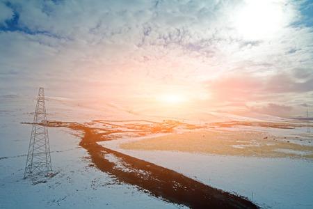 grasslands: Snow mountain landscape of the grasslands Stock Photo