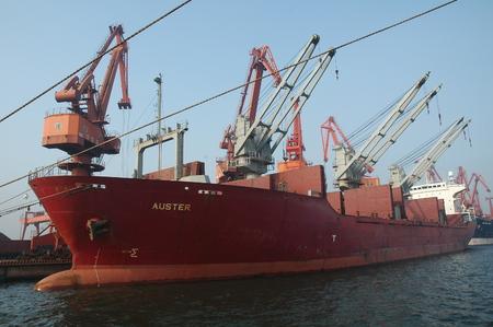 freighter: wharf ocean-going freighter