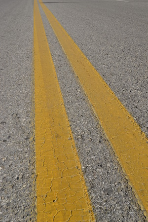 yellow line: Road line, double yellow line Stock Photo