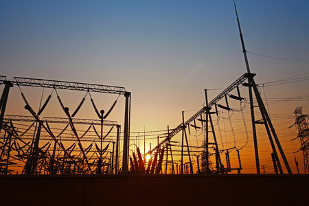 electrical energy: Wire electrical energy at sunset Stock Photo