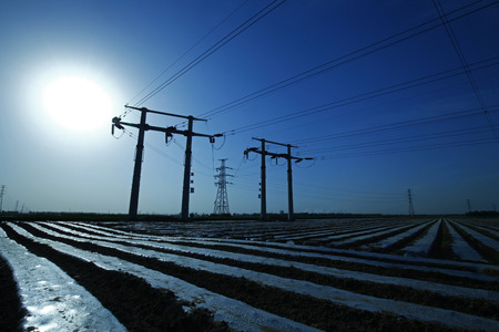 conductive: Pole and tower of high voltage Stock Photo