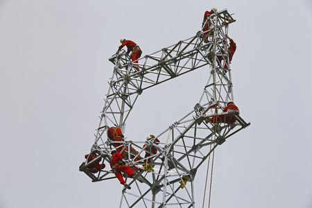 insulators: The workers on the pylon