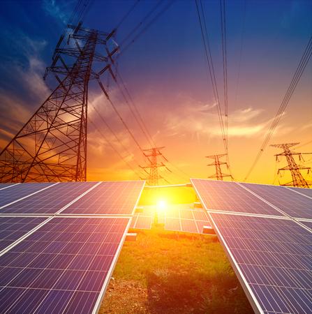 Solar panels and pylon Stock Photo