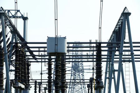 electric grid: Electric power equipment, high pressure ceramic and metal stents, power grid and power lines Stock Photo