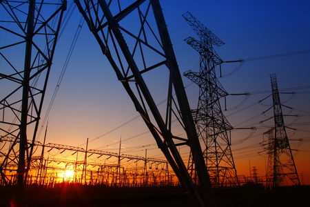 Wire electrical energy at sunset Stock Photo