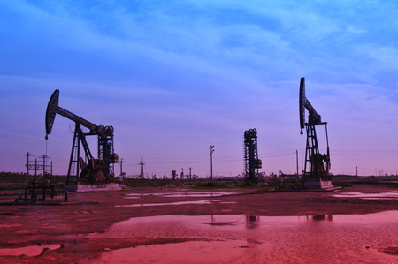 beautification: Oil field drilling rig, jidong oilfield in China