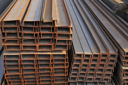 Hot dip galvanized steel channel Stock Photo