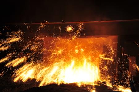 Smelting industry sparks in steel mills