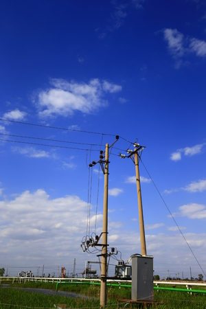power cables: Telephone poles and wires and the blue sky
