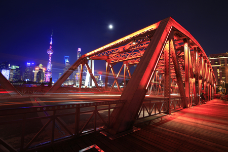 The garden bridge of Shanghai in China, the landmark. colorful