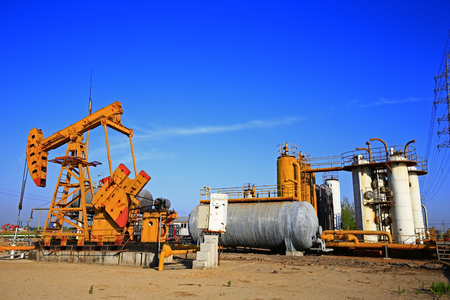 Pipeline valves and industrial equipment Stock Photo