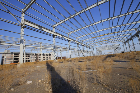 warehouse building: In the construction site, steel structure is under construction