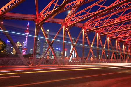 The garden bridge of Shanghai in China during night time