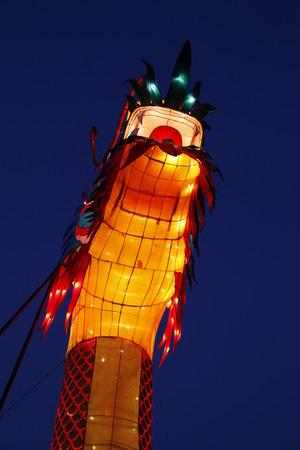 The Chinese dragon lantern at night
