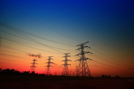 Landscape view of pylon during sunset Stock Photo