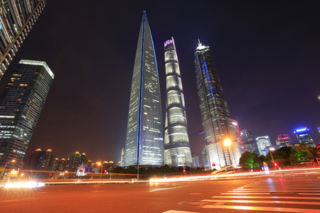 Night at lujiazui financial center in Shanghai, China Stock Photo