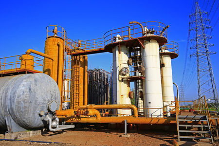 Pipeline valves and industrial equipment in an oil field
