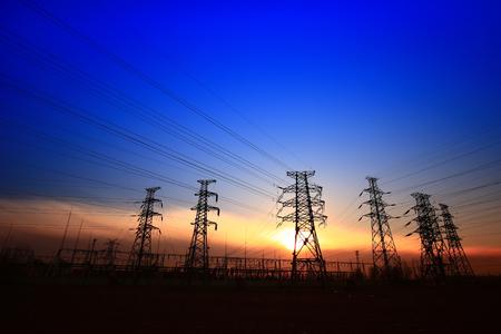 pylon landscape view during sunset