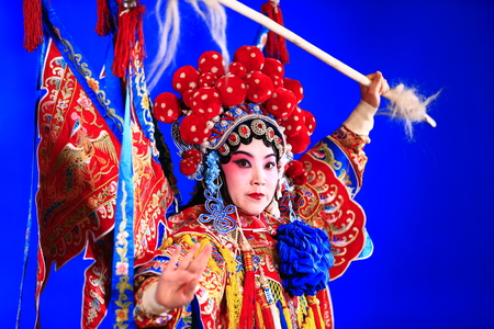 Tangshan , February 3: Peking Opera troupe of actors on February 3, 2018, in tangshan city, hebei province, China. Редакционное