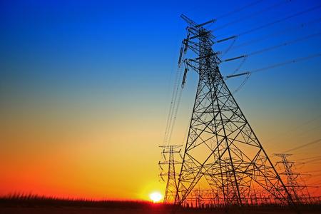 Pylon, high-voltage tower sky background.
