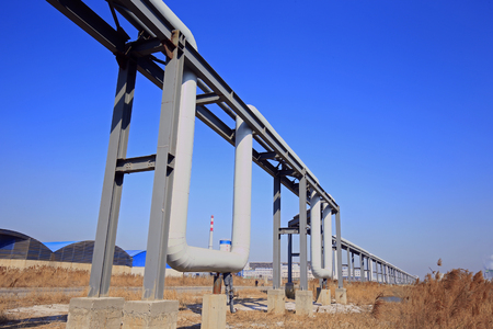 Industrial pipeline equipment of the factory  Stock Photo