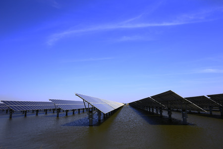 Solar panels on the water  Stock Photo