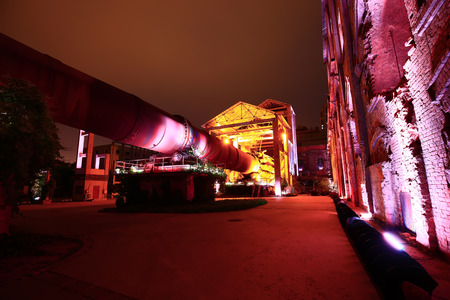 manufacturing machinery and equipment of the factory at night