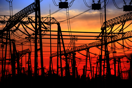 Electric tower, silhouette at sunset Stock Photo