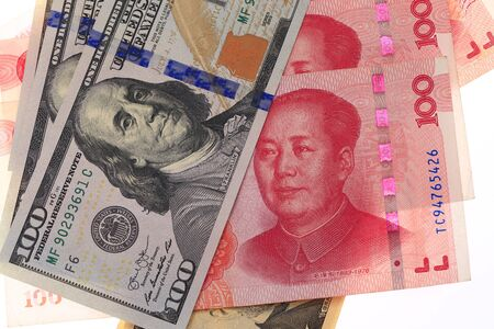 USD vs RMB on white background. Stock Photo