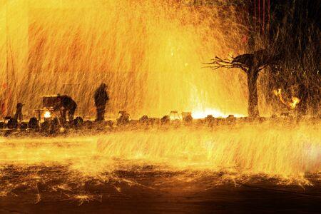 Sparks of molten steel melting, Reklamní fotografie