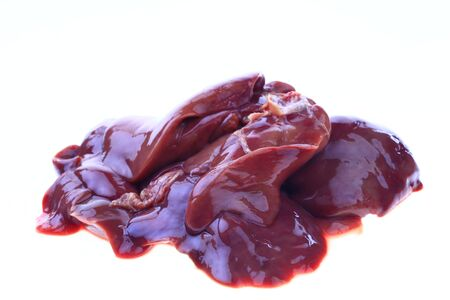 Chicken liver on a white background