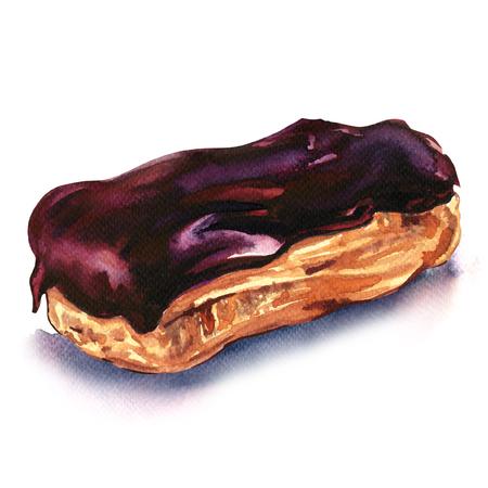 チョコレートのエクレアのデザートは、白い背景の水彩画