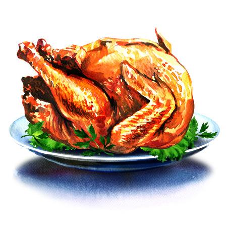 샐러드와 전체 크리스마스 만찬 터키, 흰색 배경에 수채화 그림