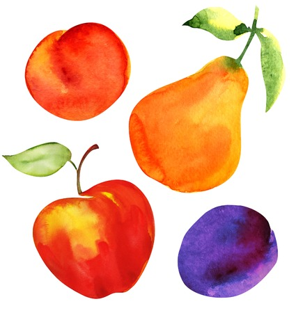 Set of fruits. Apple, pear, plum and apricot, watercolor painting on white background