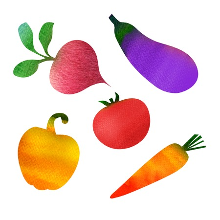 aubergine: Set of vegetables aubergine, carrot, tomato, pepper, beet isolated, watercolor painting on white background