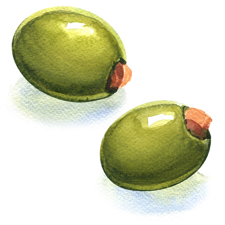 stuffed: Fresh stuffed green olives, watercolor painting on white background