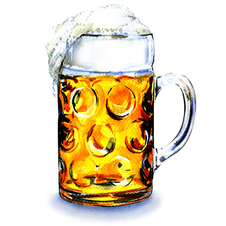 beer foam: Glass mug with beer isolated, watercolor painting on white background