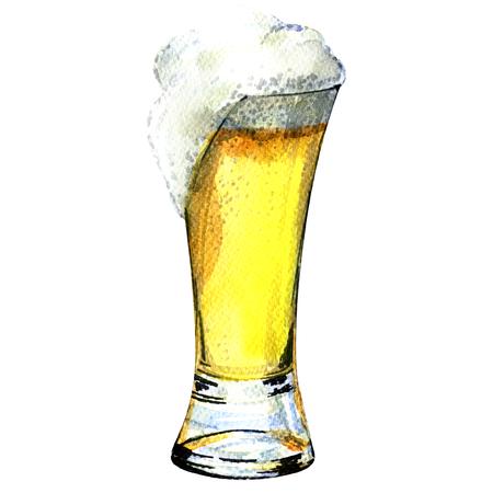 分離、白い背景の絵画水彩画ビールのグラス 写真素材