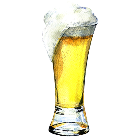 Glass of beer isolated, watercolor painting on white background