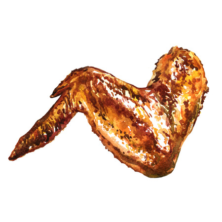 Grilled chicken or turkey wings, watercolor painting on white background Stockfoto